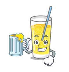 With juice lemonade mascot cartoon style vector