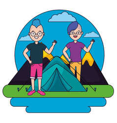 Young man and woman camping forest mountains vector