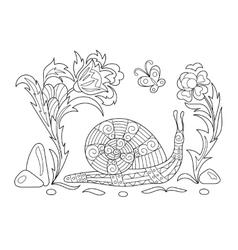 Zentangle stylized cartoon snail crawling among vector