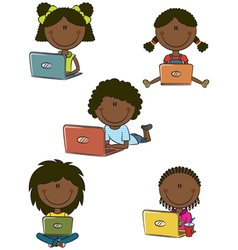 African-American cheerful girls with laptops vector image vector image