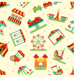 amusement park with carousel circus and other vector image