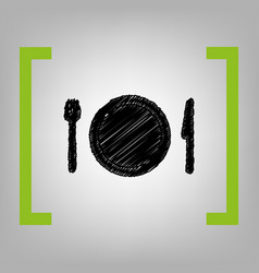 fork plate and knife black scribble icon vector image
