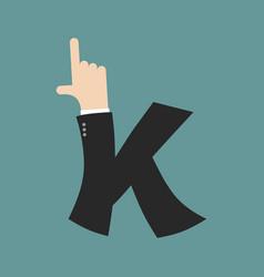K letter businessman hand font it shows finger vector