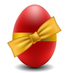 Red Easter egg with yellow bow vector image vector image