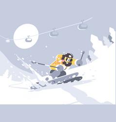skier skiing in ski resort vector image