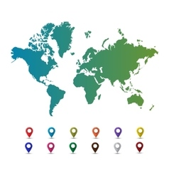 World map with colorful pointer marks vector image vector image