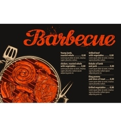 Barbecue grill template of menu design vector image vector image