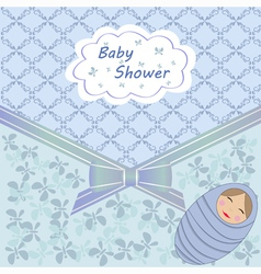 Blue baby shower with boy vector image vector image