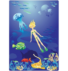 Diving in Red Sea vector image vector image