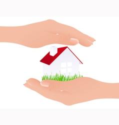 Home in hands vector image vector image
