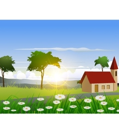 nature background with house and sunlight effect vector image
