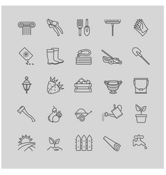 outline icons set - gardening tools flowers vector image