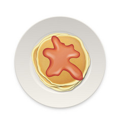 realistic pancake with boiled or jam on a white vector image