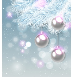 White pine branch and decorations vector image vector image