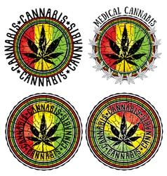 Cannabis leaf symbol jamaican flag background vector image