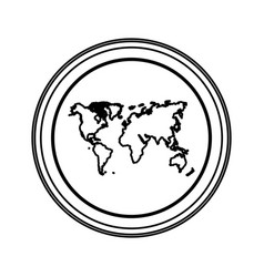 contour emblem earth planet map icon vector image vector image