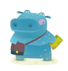 Hippopotamus Kid Student with Book and Bag Going vector image vector image