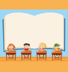 paper template with kids in classroom vector image