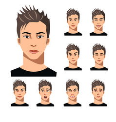 attractive haired young man on different face vector image vector image