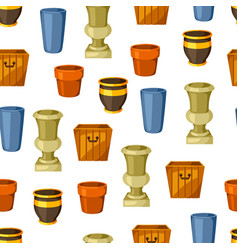 Garden pots seamless pattern with various color vector