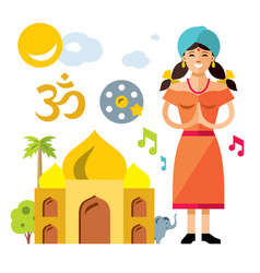 india travel concept flat style colorful vector image vector image