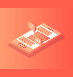 isometric smartphone with chat on screen vector image