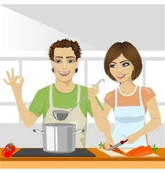young couple cooking soup together in kitchen vector image vector image
