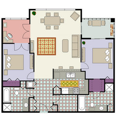 2bed plus den furnished floor plan image vector image