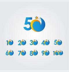 50 years anniversary star dash blue celebration vector