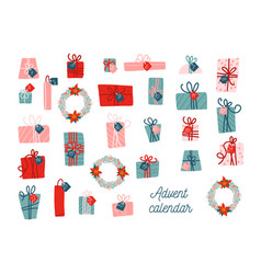 advent calendar template collection vector image