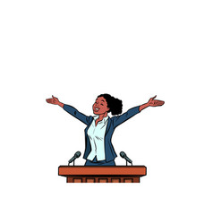 African women politician speaker on podium vector