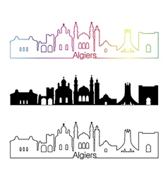 Algiers skyline linear style with rainbow vector