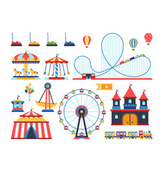 Amusement park attractions train ferris wheel vector