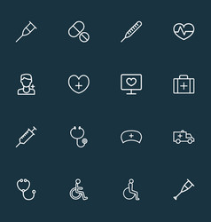antibiotic icons line style set with handicapped vector image