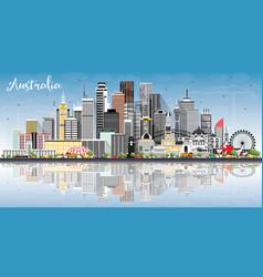 australia city skyline with gray buildings blue vector image