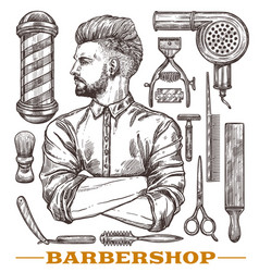 barbershop tools with portrait yong hipster man vector image