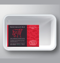 beef abstract plastic tray container cover vector image