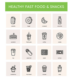 Black icons for healthy fast food cafe vector