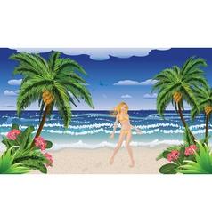 Blonde woman on beach vector image