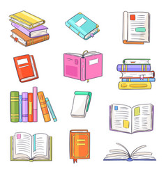 Books opened diary story-book and notebook vector