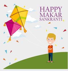 Boy and kites to celebrate makar sankranti vector