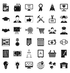 Business presentation icons set simple style vector