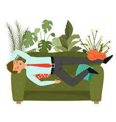 businessman sleeps on couch tired man taking nap vector image