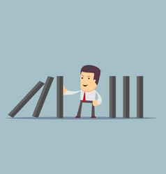 Businessman stopping the domino effect vector