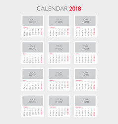 calendar 2018 template place your photo vector image