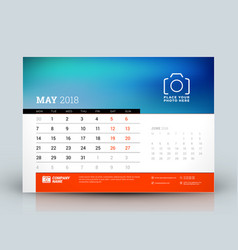 calendar design template may 2018 place for photo vector image