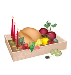 Candles with Christmas Dinner in Wooden Container vector image