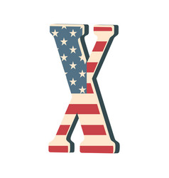 capital 3d letter x with american flag texture vector image vector image