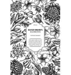 Card design with black and white plumeria vector