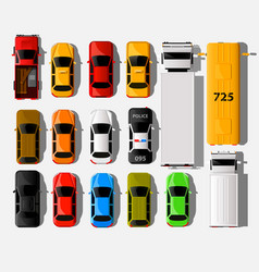 Cars top view city vehicle transport icons set vector